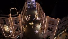 Aerial - Christmas lighting display Stock Footage