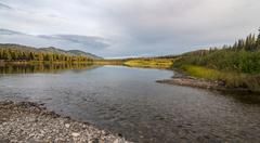 Stock Photo of Evening mood at the Yukon River Yukon Territory Canada North America