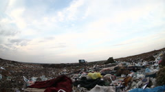 man unemployed homeless dump dirty looking food waste in landfill  social video - stock footage