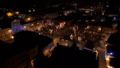 Aerial - Small city park in Christmas lights - stock footage
