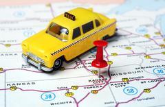 Kansan City USA  map taxi - stock photo