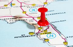 Tampa Florida  USA map Stock Photos