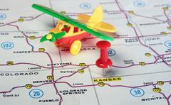 Kansan USA map airplane Stock Photos