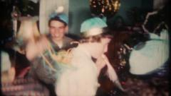 2607 - New Year Eve party for teenagers at home - vintage film home movie - stock footage