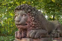 Stock Photo of Stone lion at the gateway to Castle Lowenstein Kleinheubach Lower Franconia