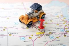 Kansan City USA  map retro car - stock photo