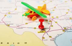 San Antonio  USA map airplane Kuvituskuvat