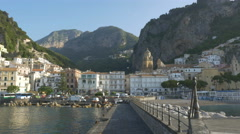Town of Amalfi, Italy in morning light shot from pier. Stock Footage