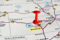 Wichita  Kansan  USA  map - stock photo