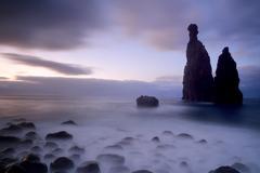 Stock Photo of Volcanic rock formation Ilheus da Rib by the cliffs of Ribeira da Janela