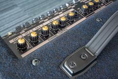 Button of Keyboard Power Amplifier, closeup view background Stock Photos