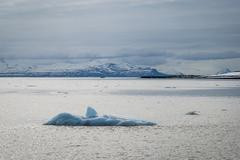 Icebergs floating in the arctic sea in Svalbard - stock photo