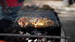 Roast on the grill meat and cake Stock Footage
