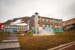 Communistic memorial in Barentsburg, Svalbard - stock photo