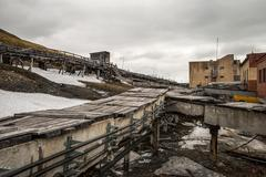 Heavy industry in Barentsburg, Russian settlement in Svalbard Stock Photos