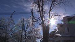 Ontario ice and freezing rain winter storm damage Stock Footage