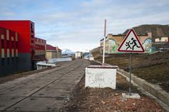 Main street in Barentsburg, russian settlement in Svalbard Stock Photos