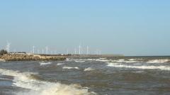 Wind turbines near the Azov Sea Stock Footage