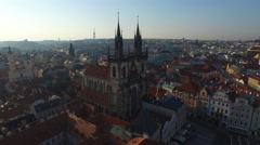 Aerial view of Church of Our Lady before Týn Prague Stock Footage