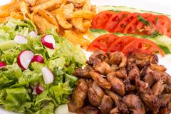 Stock Photo of fried chicken with salad and potatoes - close up