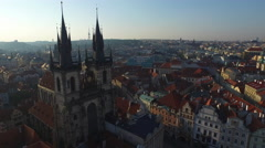 Aerial view of Church of Our Lady's towers in Prague Stock Footage