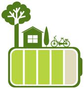 Green battery and nature - stock illustration