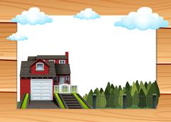 House and park at daytime - stock illustration