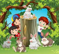 Children in the jungle with rabbits - stock illustration