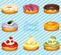 Different kind of donuts - stock illustration