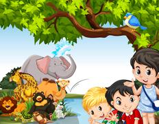 Children and wild animals by the pond - stock illustration