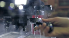 Close up of the coffee machine holder Stock Footage