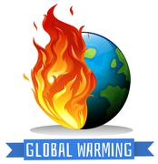 Global warming with earth on flame - stock illustration