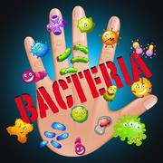 Bacteria in human hand Stock Illustration