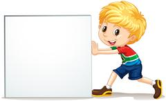 Little boy pushing blank sign - stock illustration