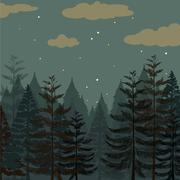 Pine forest at night time - stock illustration