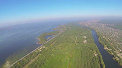 Stock Video Footage of Real plane POV flight from  height of 400 meters .Aerial over river   and lake