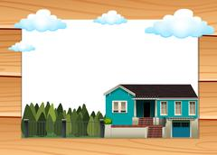 Two stories house at daytime - stock illustration