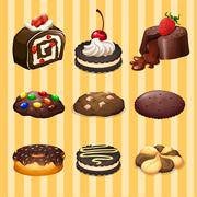 Different kind of dessert chocolate flavor Stock Illustration
