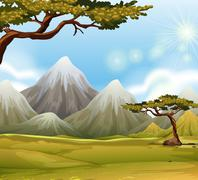 Mountain with snow on top Stock Illustration