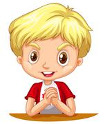 Little boy with blond hair - stock illustration