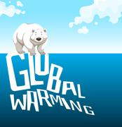 Global warming sign with polar bear Stock Illustration