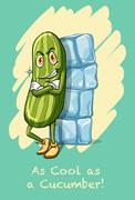 Idiom as cool as cucumber Stock Illustration