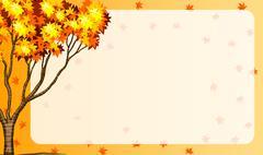 Autumn scene with tree and orange leaves - stock illustration