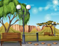 Nature scene with park and trees Stock Illustration