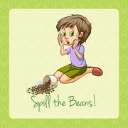 Old saying spill the beans - stock illustration