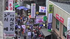 Areial View Pedestrian Shop And Signs Insa-dong Stock Footage