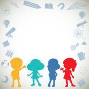 Silhouette children and science symbols - stock illustration
