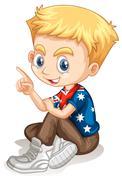 Little boy pointing his finger Stock Illustration