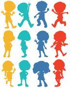Silhouette children in four colors - stock illustration