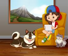 Little girl on sofa with pet dog and cat Stock Illustration